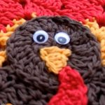 Turkey Crocheted Place Mat. Close up of Turkey face || thecrochetspace.com