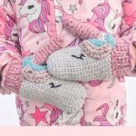 Unique Unicorn Crochet Mittens. Crafted in pink and grey    thecrochetspace.com