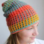 Uniquely Textured Crochet Hat. Lady wearing hat || thecrochetspace.com