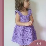 Vintage Lacey Crochet Dress. Little girl wearing pretty lace dree, with no sleeves and scoop neckline || thecrochetspace.com