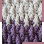 Winter Crochet Montane Afghan. Close up image of Alpine stitch in grey and purple || thecrochetspace.com