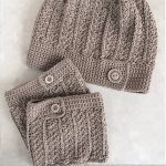 Yarni Crochet Boot Cuffs. View of both boot cuffs with matching hat. All with one button on border || thecrochetspace.com