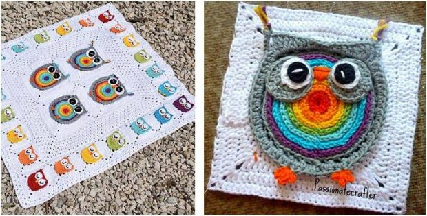 biggie rainbow owl crocheted square | the crochet space