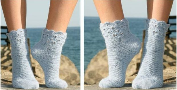 Breezy Seaside Crocheted Socks Free Crochet Pattern