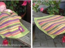 cluster striped crocheted baby blanket   the crochet space