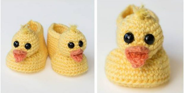 Duckling Crocheted Baby Booties [FREE Crochet Pattern]