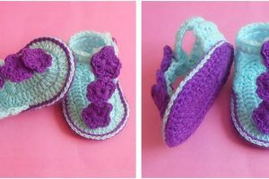 floral crocheted baby sandals | the crochet space