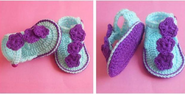 Floral Crocheted Baby Sandals [FREE Crochet Pattern]