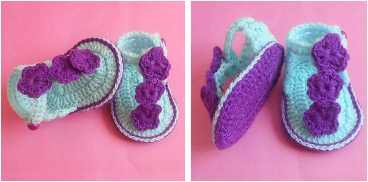 Floral Crocheted Baby Sandals Crochet Pattern Not Available At The