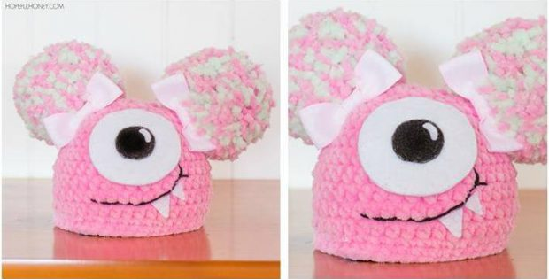 Fuzzy Monster Crocheted Newborn Hat Free Crochet Pattern