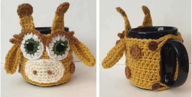 Giraffe Crocheted Mug Cozy Free Crochet Pattern