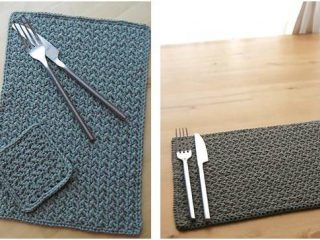 grit stitch crocheted table setting   the crochet space