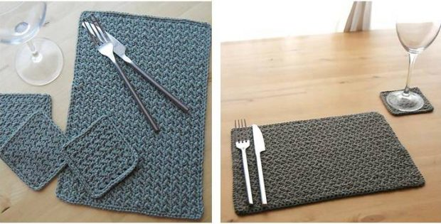 grit stitch crocheted table setting | the crochet space