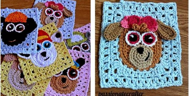 Paw Patrol Crocheted Granny Squares Free Crochet Pattern