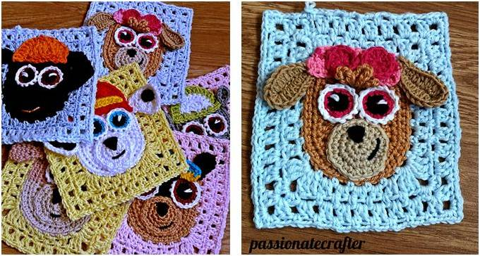 Paw Patrol Crocheted Granny Squares [FREE Crochet Pattern] Best Paw Patrol Crochet Patterns