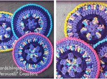 rainbow vermicelli crocheted coasters | the crochet space
