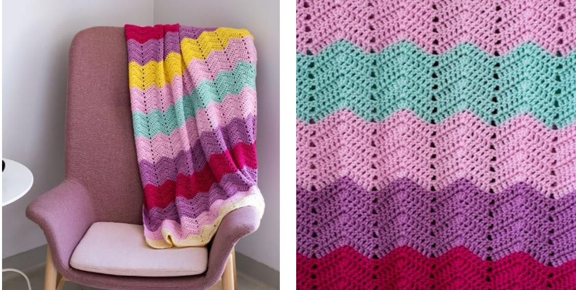 Rosy Ripple Crocheted Afghan | thecrochetspace.com