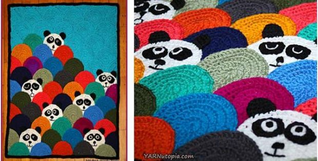 roly poly crocheted panda quilt | the crochet space