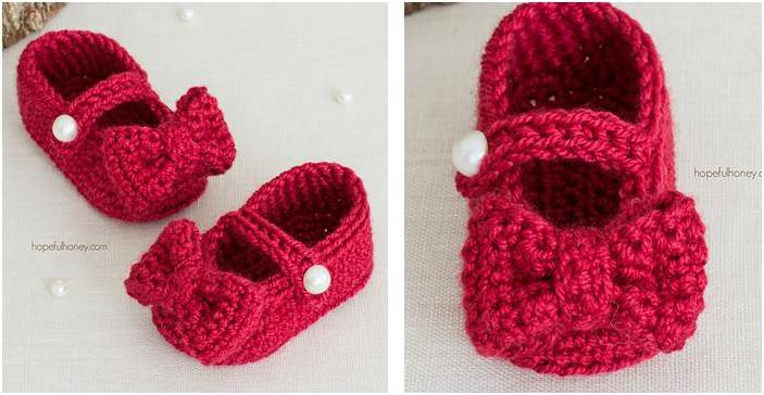 Ruby Red Crocheted Mary Jane Booties Free Crochet Pattern
