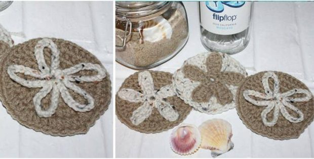 Sand Dollar Crocheted Coasters Free Crochet Pattern