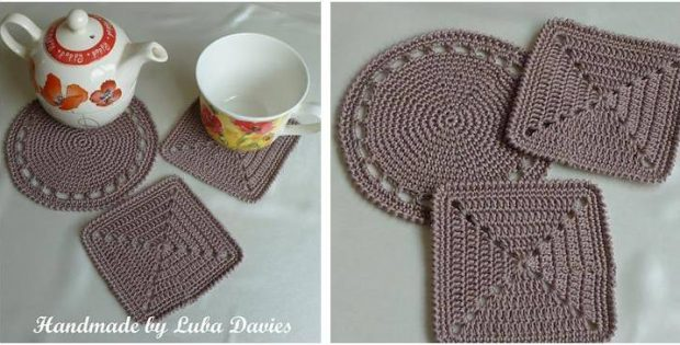 simply easy crocheted coaster set | the crochet space