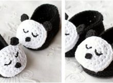 sleepy panda crocheted baby booties | the crochet space