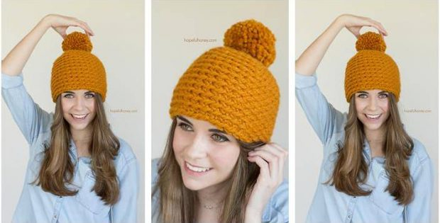toffee apple crocheted pompom beanie | the crochet space