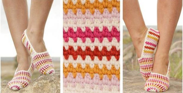 tropical steps crocheted slippers | the crochet space